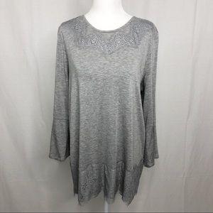 Dress Barn Tunic Lace Design Top, Size Large, Gray